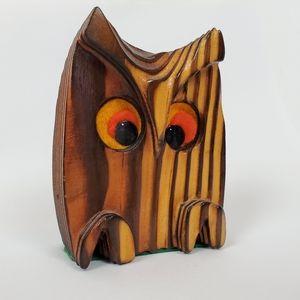 Vintage cryptomeria wood owl MCM